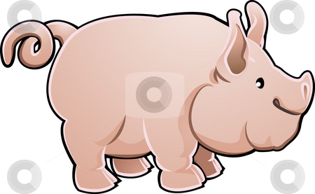 Piglet stock photo, A cute pig farm animal vector illustration by Christos Georghiou