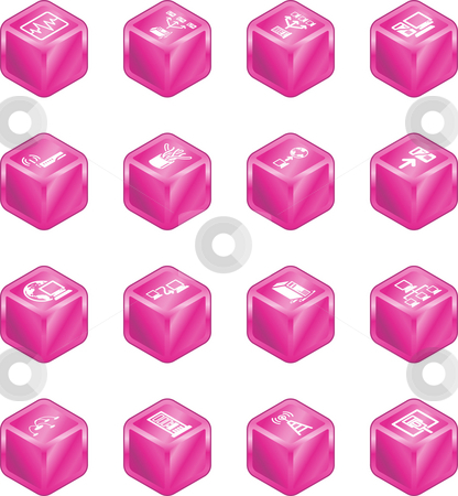 Network Computing Cube Icons Series Set.  stock photo, A series of cube icons relating to computer networks. by Christos Georghiou