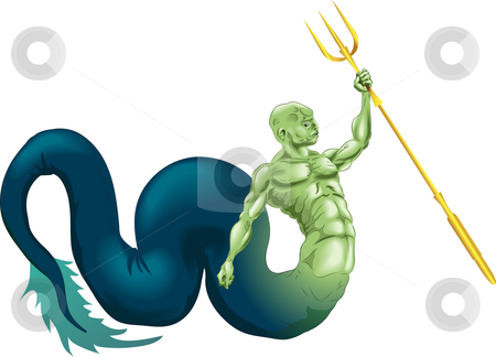 Merman or Poseidon stock photo, A merman type sea creature or the god Poseidon (Neptune) from classical mythology by Christos Georghiou
