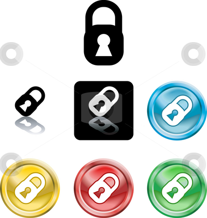 Padlock icon symbol stock photo, Several versions of an icon symbol of a stylised padlock by Christos Georghiou