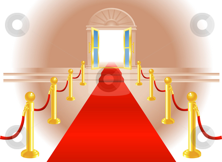 Red Carpet Entrance stock photo, A red carpet leading up to a lavish door to an exclusive venue by Christos Georghiou