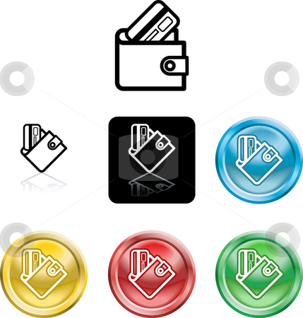 Wallet and credit card icon symbol stock photo, Several versions of an icon symbol of a stylised wallet and credit card by Christos Georghiou