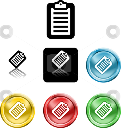 Clipboard icon symbol stock photo, Several versions of an icon symbol of a stylised clipboard with document on it by Christos Georghiou