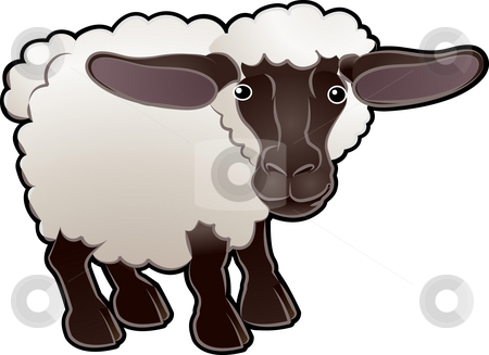 Sheep stock photo, A cute sheep farm animal vector illustration by Christos Georghiou