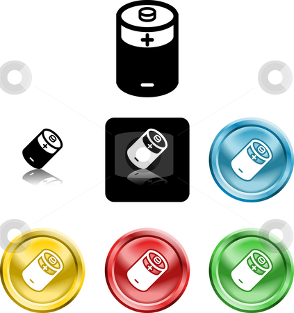 Battery icon symbol stock photo, Several versions of an icon symbol of a stylised battery by Christos Georghiou