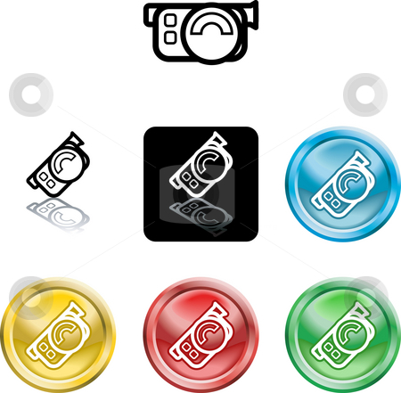 Movie camera icon symbol stock photo, Several versions of an icon symbol of a stylised movie camera by Christos Georghiou
