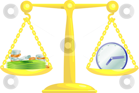 Balancing time and money stock photo, Conceptual vector illustration. Work life balance or balancing time and money. by Christos Georghiou