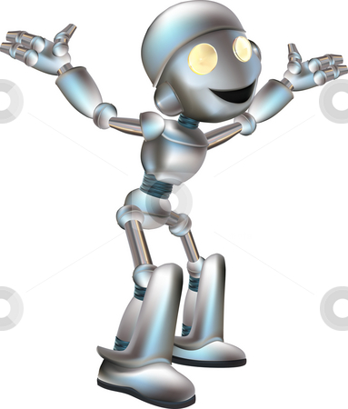 Cute Robot  stock photo, A illustration of a cartoon cute shiny robot by Christos Georghiou