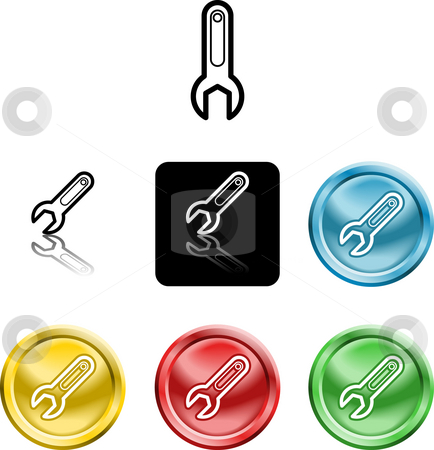 Spanner icon symbol stock photo, Several versions of an icon symbol of a stylised spanner by Christos Georghiou