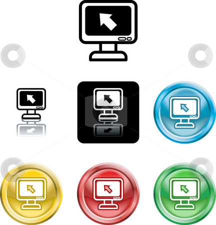 Computer monitor icon symbol stock photo, Several versions of an icon symbol of a stylised computer monitor and pointer by Christos Georghiou
