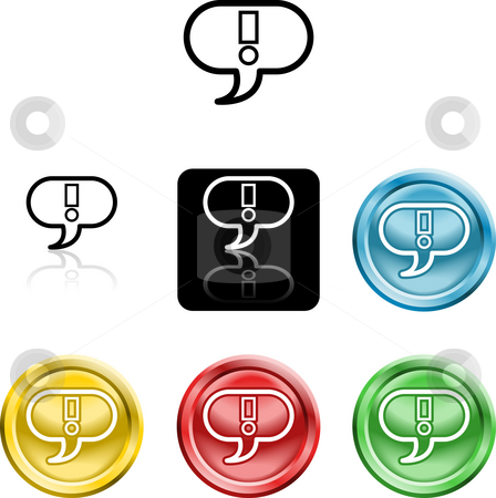 Exclamation mark icon symbol stock photo, Several versions of an icon symbol of a stylised exclamtion mark in a speach bubble by Christos Georghiou