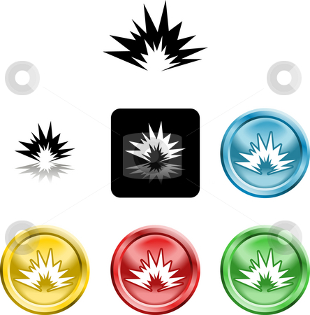 Explosion icon symbol stock photo, Several versions of an icon symbol of a stylised explosion by Christos Georghiou
