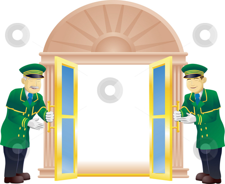 Doormen stock photo, Doormen holding a door open for the viewer like they are a VIP by Christos Georghiou