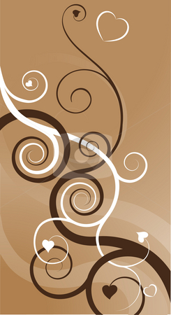 Heart swirls abstract background stock photo, A heart swirls abstract background. Two vines, one brown one white, with heart shaped leaves becoming intertwined symbolising two people in love coming together. by Christos Georghiou