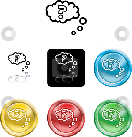 Question query icon symbol stock photo, Several versions of an icon symbol of a stylised question mark in thought bubble by Christos Georghiou