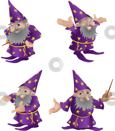 Wizard illustration.  stock photo, An illustration of a very funky friendly wizard in four different poses by Christos Georghiou