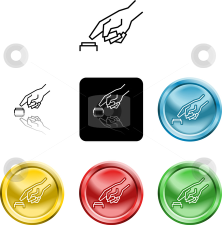 Hand pressing a button icon symbol stock photo, Several versions of an icon symbol of a stylised hand pressing a button by Christos Georghiou