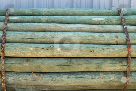 Log Pile stock photo, A pile of logs strapped together with metal straps by Richard Nelson