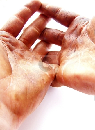 Expectant Hardworking Hands, Vertical stock photo, Image of two strong hands, darkened with grease, with fingers interlaced.  Background is white, and image has a vertical orientation. by Jill Oliver
