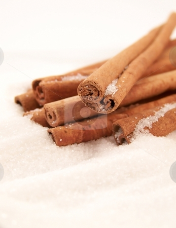 Cinnamon Sticks and Sugar stock photo, Vertical image of cinnamon sticks piled in white granulated sugar, viewed at an angle. by Jill Oliver