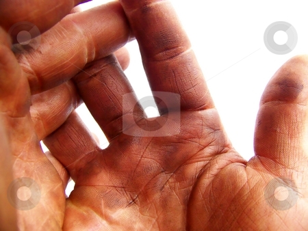 Open Hardworking Hands stock photo, Detailed image of two hands darkened with grease, fingers interlaced, on white background.  Horizontal orientation. by Jill Oliver