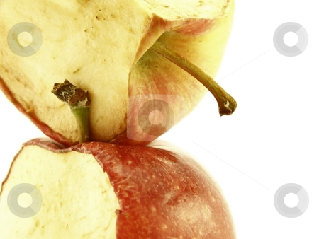 Stacked Decaying Red Apples stock photo, Close up image of two stacked, decaying red apples. by Jill Oliver