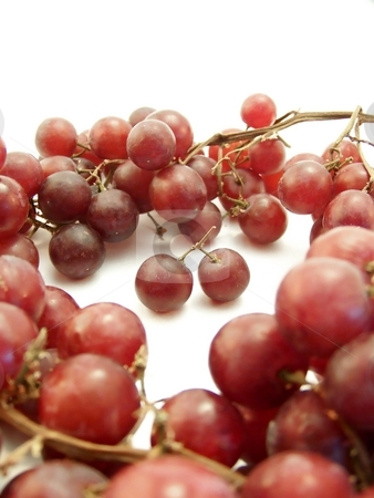 Red Grape Ring on White, Vertical stock photo, Image of red grapes arranged in a ring surrounding two that are joined together.  White background.  Vertical orientation. by Jill Oliver