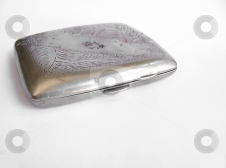 Antique Cigarette Case, Horizontal stock photo, Image of an antique metal cigarette case.  Horizontal orientation. by Jill Oliver