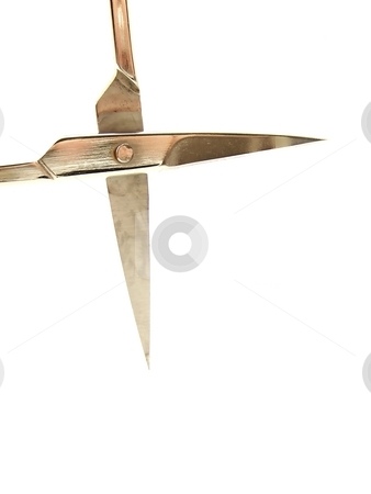 Manicure Scissors Blades stock photo, Image of an open pair of manicure scissor blades.  Vertical orientation. by Jill Oliver