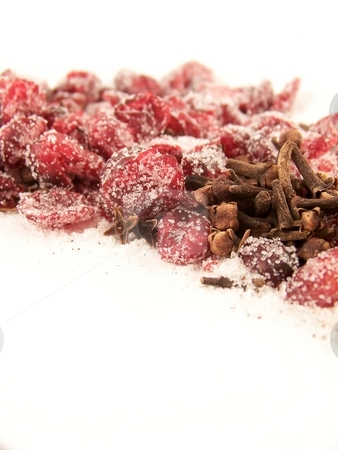 Dried Cranberries and Sugar and Cloves stock photo, Image of dried cranberries, mixed with cloves and granulated white sugar. by Jill Oliver