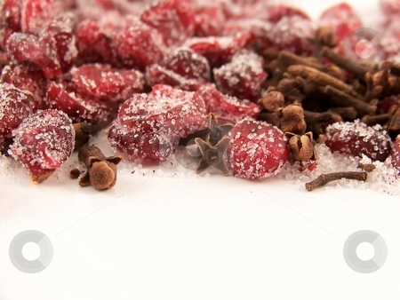 Dried Cranberries and Sugar and Cloves stock photo, Image of dried cranberries mixed with cloves and white granulated sugar. by Jill Oliver