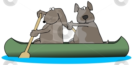 Two Dogs In A Canoe stock photo, This illustration depicts two brown dogs paddling a canoe. by Dennis Cox