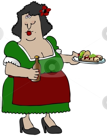 Mexican Food stock photo, This illustration depicts a Mexican woman holding a plate of food and carrying a bottle of beer. by Dennis Cox