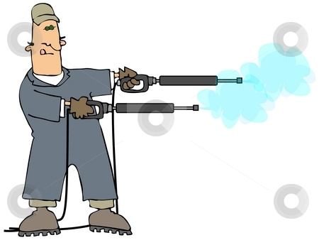 Double Barrel Power Washer stock photo, This illustration depicts a man in coveralls holding two power washer wands. by Dennis Cox