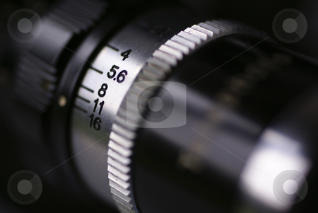 F16 stock photo, A macro shot of the side of a telephoto lens on a Cine Mark Super 8 camera, showing the available manual apertures by Tim Green