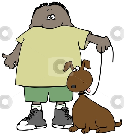 Boy And His Dog stock photo, This illustration depicts a boy and his dog on a leash. by Dennis Cox