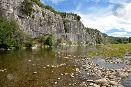 Cliffs and riverbed in Chassezac stock photo, Im Tal des Chassezac (Ardeche) S?dfrankreich by Wolfgang Heidasch