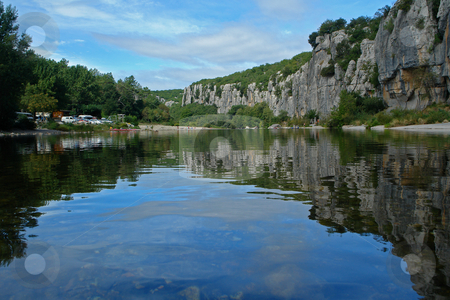 Body of water in Chassezac, Ardeche Valley, Southern France stock photo, Im Tal des Chassezac (Ardeche) S?dfrankreich by Wolfgang Heidasch