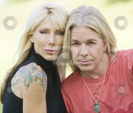 Modern Couple stock photo, Outdoor portrait of a hip man and woman by Scott Griessel