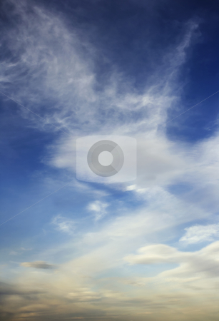 Cloudscape Backrground stock photo, Cumulus cloudscape sky in a vertical composition by Scott Griessel