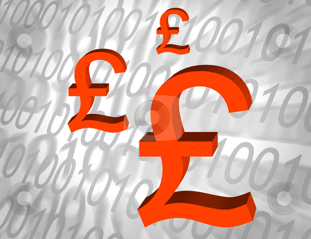 Digital economy stock photo, UK Pound symbols overlaid onto number pattern by Ronald Hudson