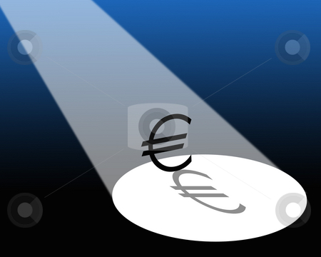 Euro in spotlight stock photo, Illustration showing spotlight falling on Euro symbol. by Ronald Hudson