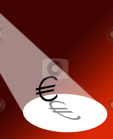 Euro in the spotlight stock photo, Spotlight falling on Euro symbol on red background. by Ronald Hudson
