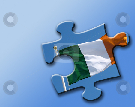 Irish solution stock photo, Illustration showing jigsaw piece overlaid with Irish Flag. by Ronald Hudson