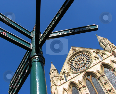York Minster stock photo, Photograph of street sign outside York Minster. by Ronald Hudson