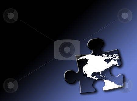 Trading opportuities stock photo, Jigsaw piece with white outline of USA and Canada on graduated blue background. Drop shadow effect applied. by Ronald Hudson