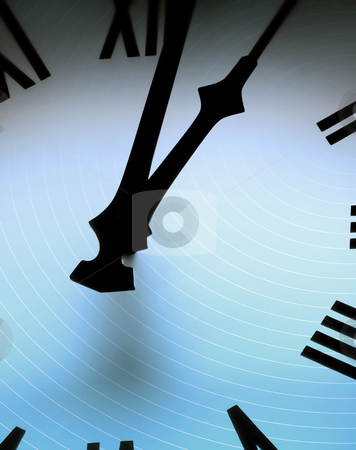 Time circles stock photo, Cirlcular lines overlaid onto clock face. by Ronald Hudson