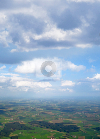 Flying high stock photo, A photography of a flight over a green country by Markus Gann
