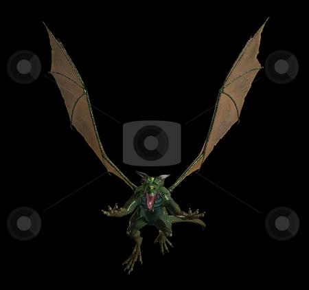 Evil green flying dragon stock photo, An illustration of an evil green flying dragon by Markus Gann