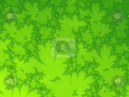 Green leafs fractal stock photo, An illustration of an abstract fractal graphic. by Markus Gann